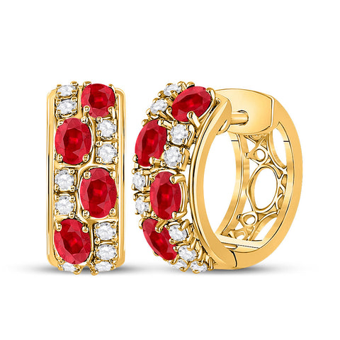 14kt Yellow Gold Womens Oval Ruby Fashion Hoop Earrings 2-1/4 Cttw