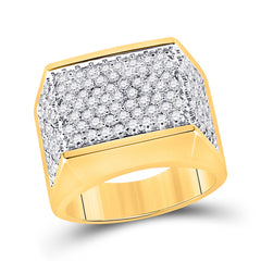 10kt Yellow Gold Mens Round Diamond Flat Top Cluster Ring 2-3/4 Cttw