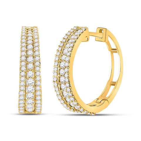 14kt Yellow Gold Womens Round Diamond Fashion Tapered Hoop Earrings 1 Cttw
