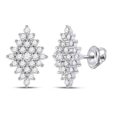 14kt White Gold Womens Round Diamond Marquise-shape Cluster Earrings 1/2 Cttw