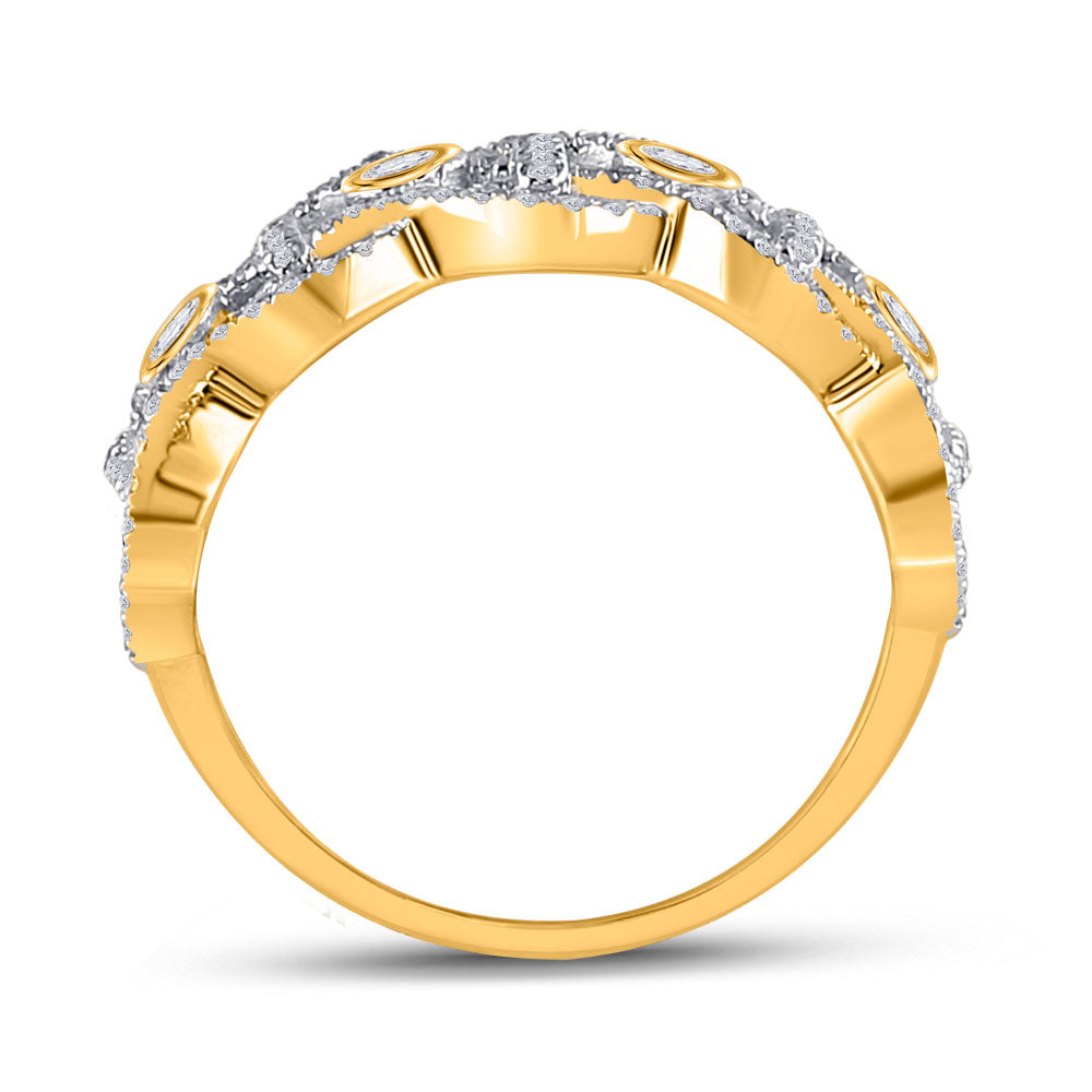 14kt Yellow Gold Womens Round Diamond Woven Fashion Ring 5/8 Cttw