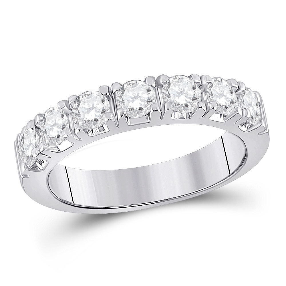 14kt White Gold Womens Round Diamond Single Row Band Ring 1 Cttw
