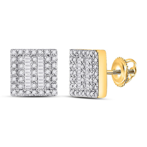 10kt Yellow Gold Womens Baguette Diamond Square Earrings 1/3 Cttw