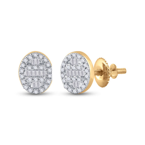 10kt Yellow Gold Womens Baguette Diamond Oval Cluster Earrings 1/4 Cttw