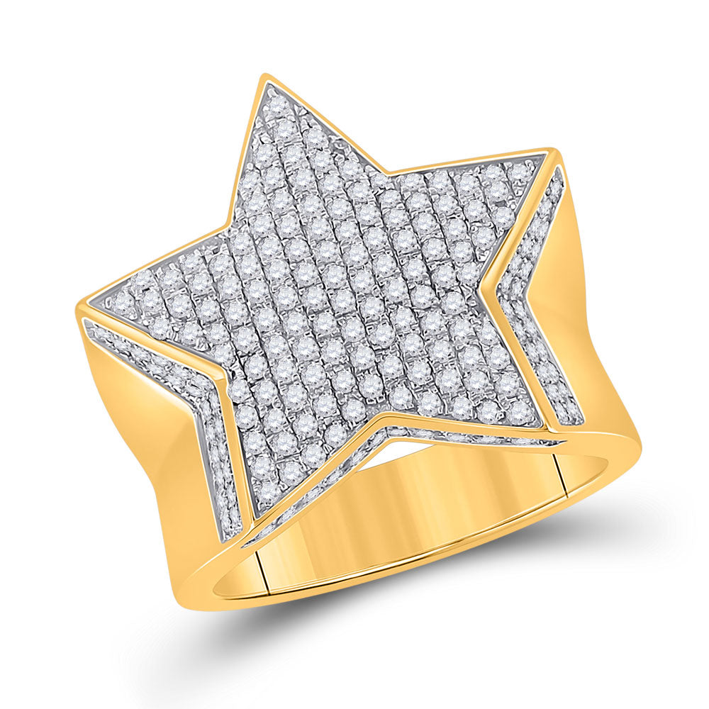 10kt Yellow Gold Mens Round Diamond Star Statement Ring 1-1/2 Cttw