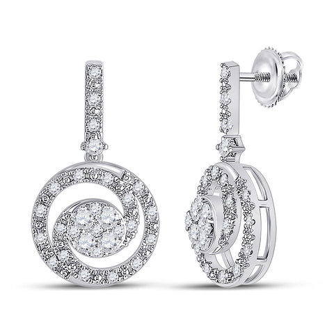 14kt White Gold Womens Round Diamond Fashion Swirl Dangle Earrings 1/2 Cttw