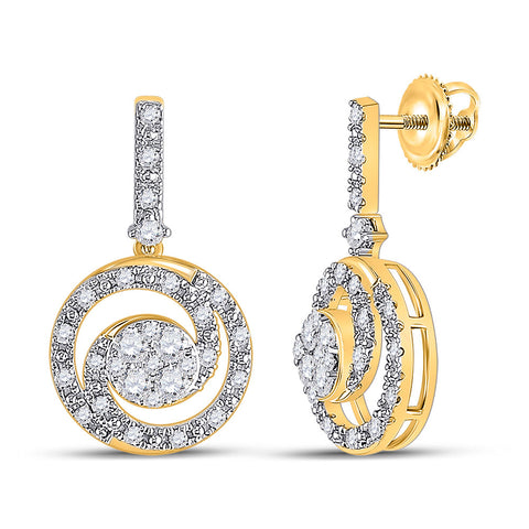 14kt Yellow Gold Womens Round Diamond Circle Cluster Dangle Earrings 1/2 Cttw