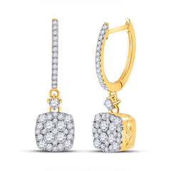 14kt Yellow Gold Womens Round Diamond Square Dangle Earrings 1 Cttw