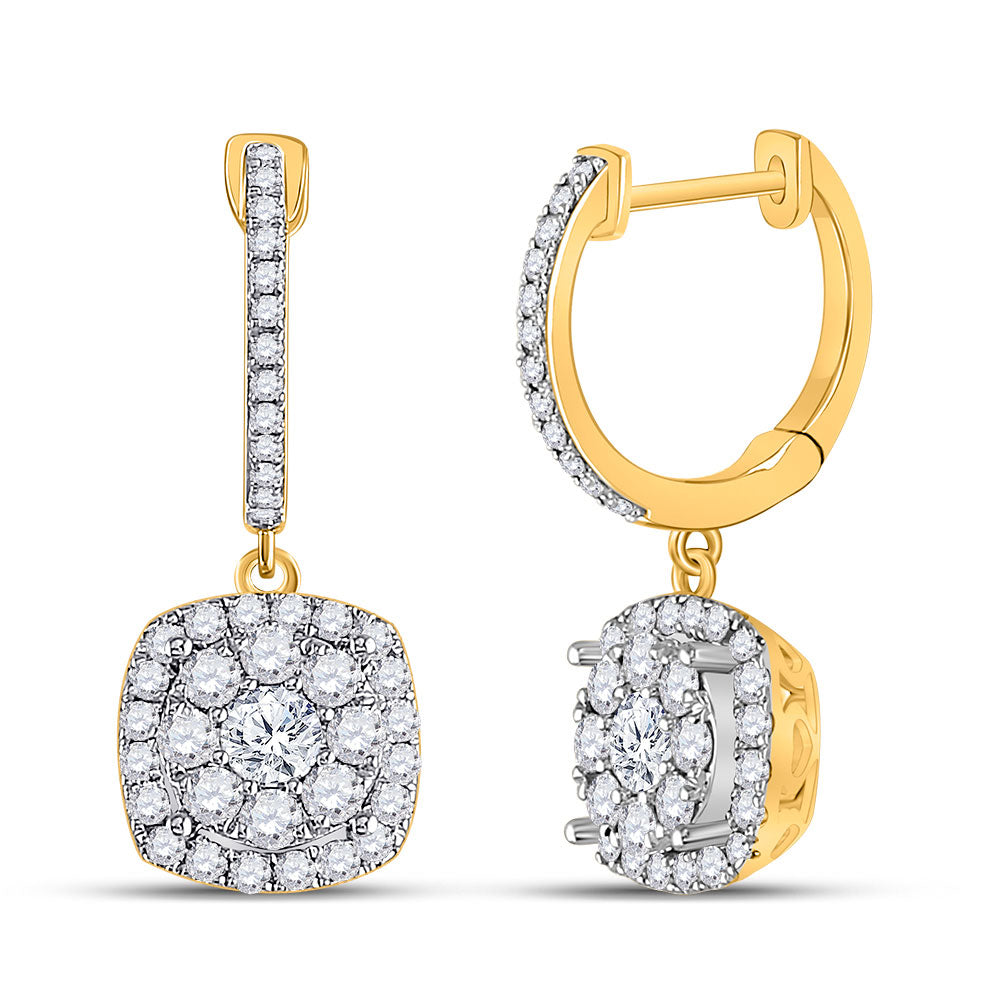 14kt Yellow Gold Womens Round Diamond Hoop Square Dangle Earrings 1 Cttw