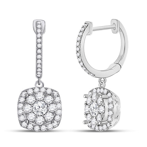 14kt White Gold Womens Round Diamond Hoop Square Dangle Earrings 1 Cttw