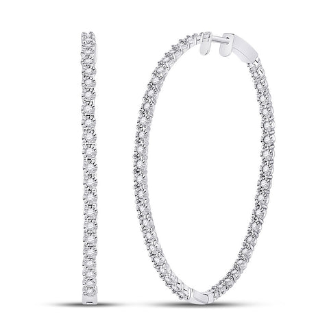 14kt White Gold Womens Round Diamond Inside-Outside Hoop Earrings 1-1/4 Cttw