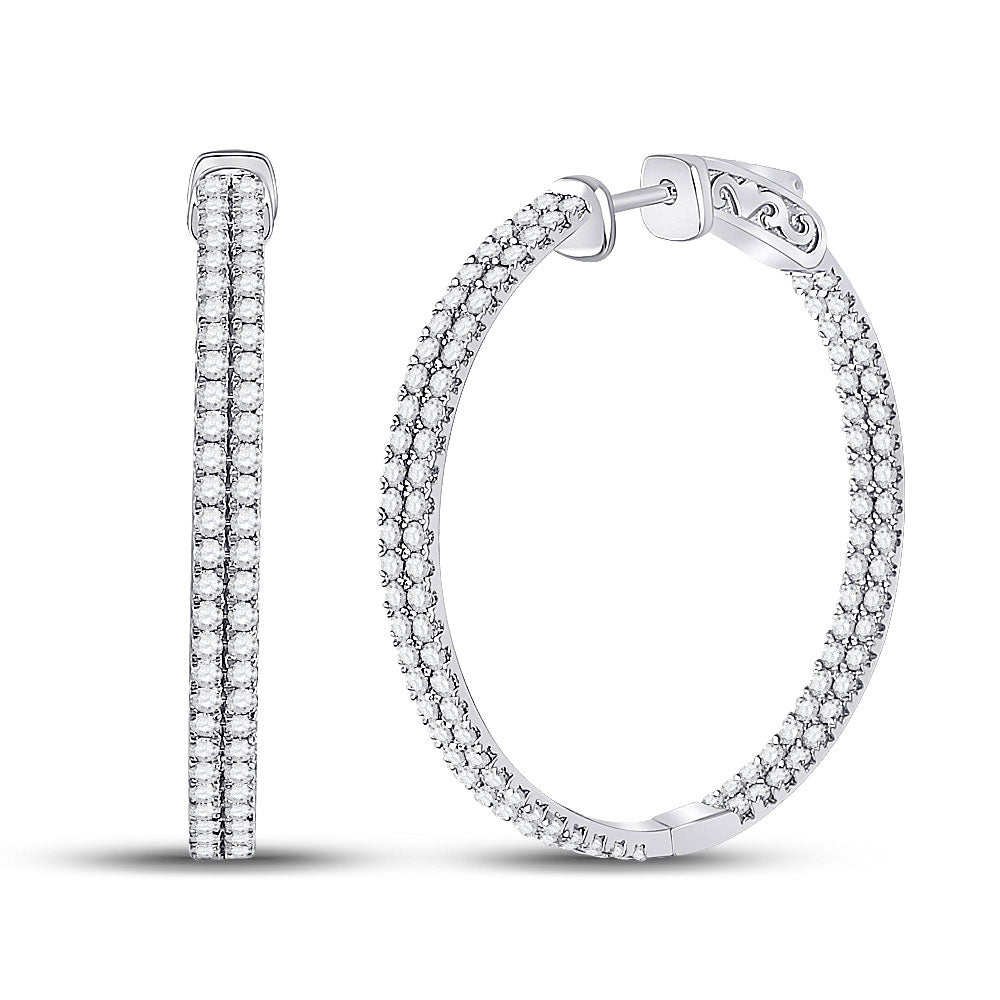 14kt White Gold Womens Round Diamond Double Row Hoop Earrings 2 Cttw