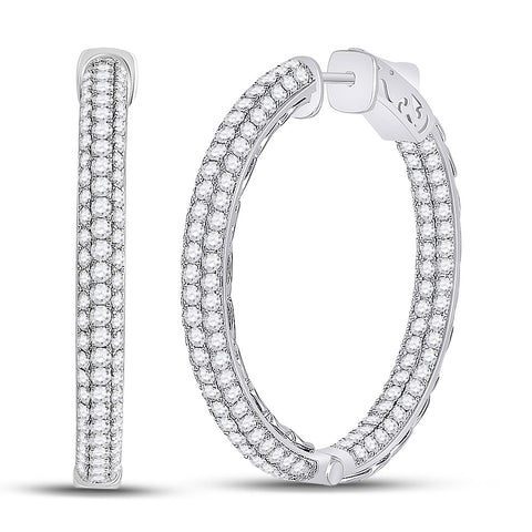 14kt White Gold Womens Round Diamond In Out Hoop Earrings 5 Cttw