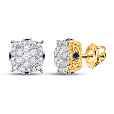 14kt Yellow Gold Womens Round Diamond Blue Sapphire Cluster Earrings 5/8 Cttw