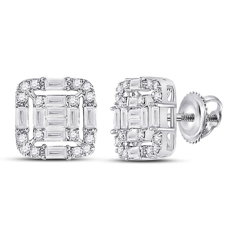 14kt White Gold Womens Baguette Diamond Cluster Fashion Earrings 5/8 Cttw