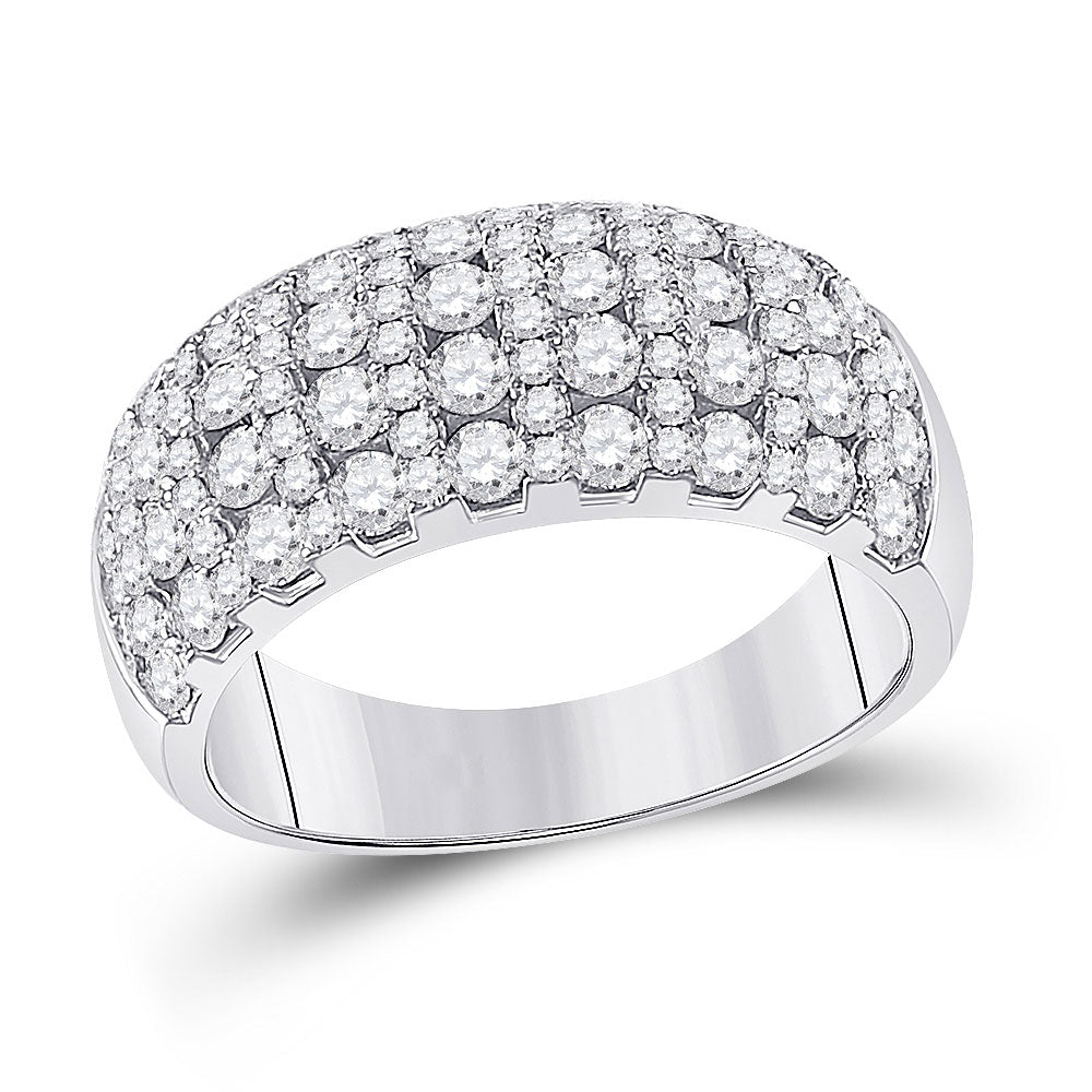 14kt White Gold Womens Round Diamond Cocktail Anniversary Ring 1-7/8 Cttw