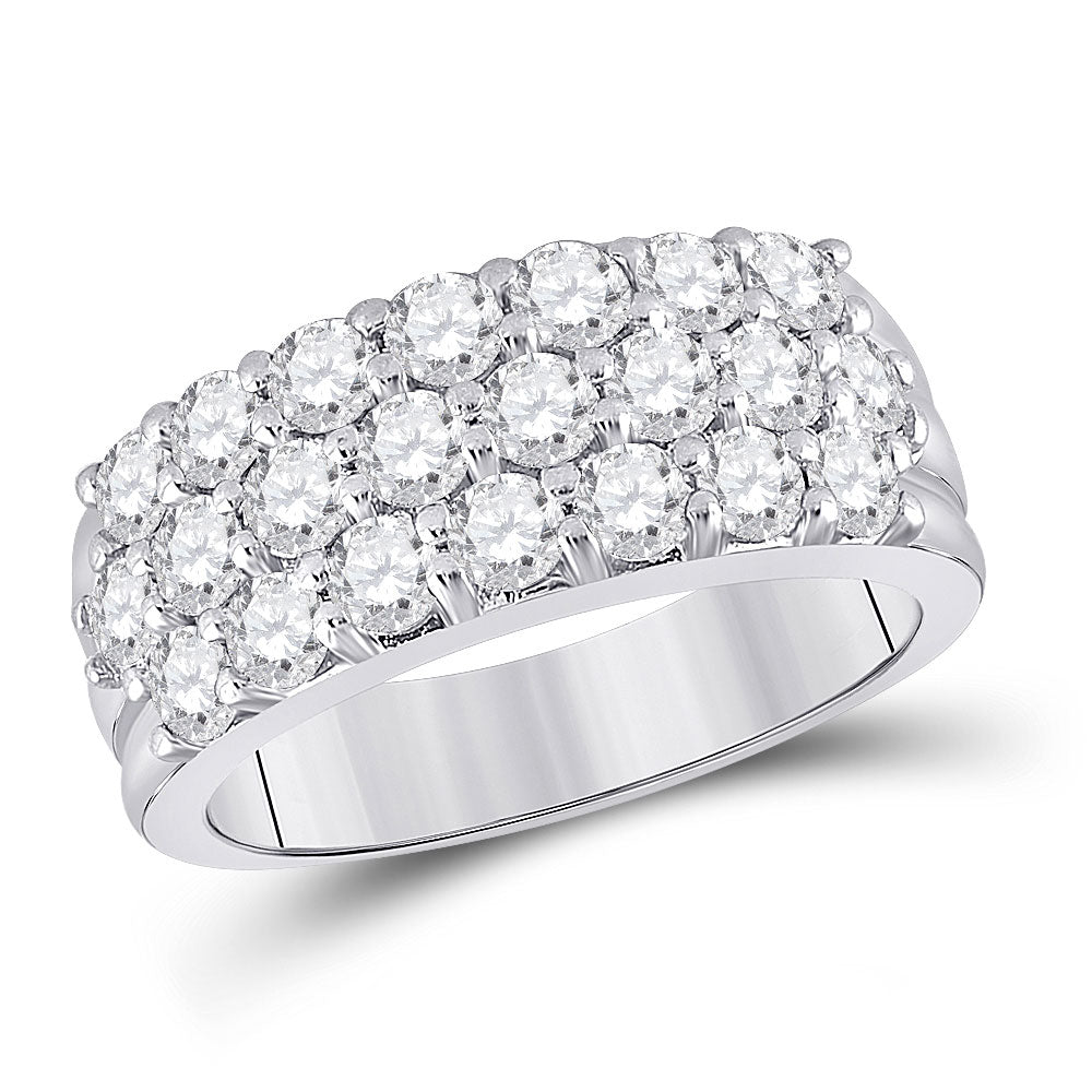 14kt White Gold Womens Round Diamond Triple Row Pave Band Ring 2 Cttw