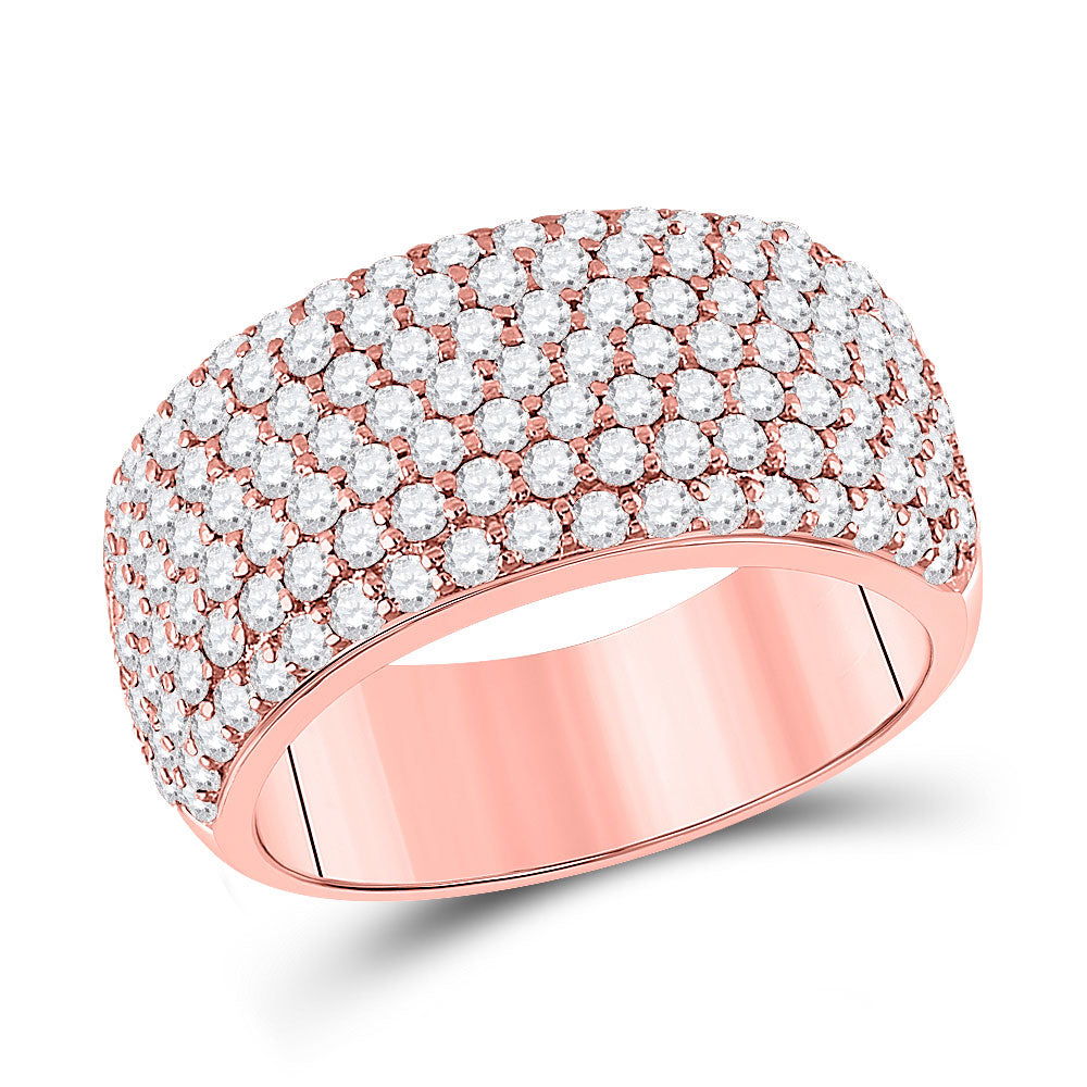 14kt Rose Gold Womens Round Diamond Pave Anniversary Ring 1-7/8 Cttw