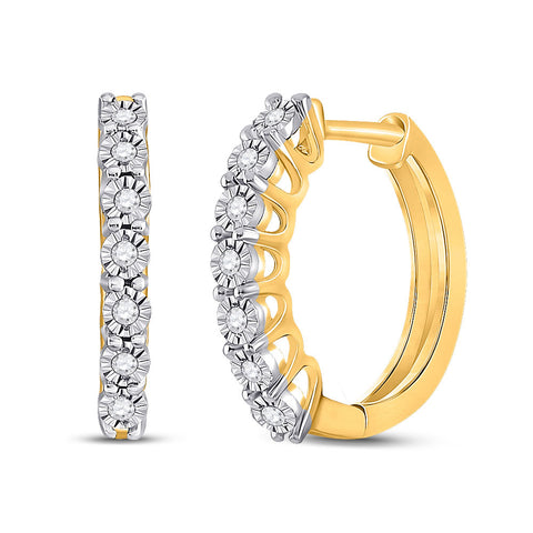 10kt Yellow Gold Womens Round Diamond Miracle Hoop Earrings 1/10 Cttw