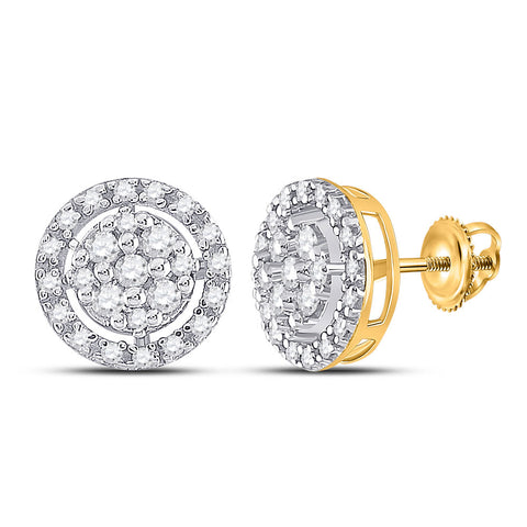 10kt Yellow Gold Womens Round Diamond Circle Cluster Earrings 1/5 Cttw