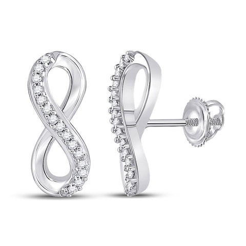 10kt White Gold Womens Round Diamond Infinity Earrings 1/20 Cttw