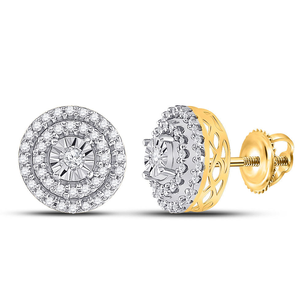 10kt Yellow Gold Womens Round Diamond Circle Cluster Earrings 1/4 Cttw