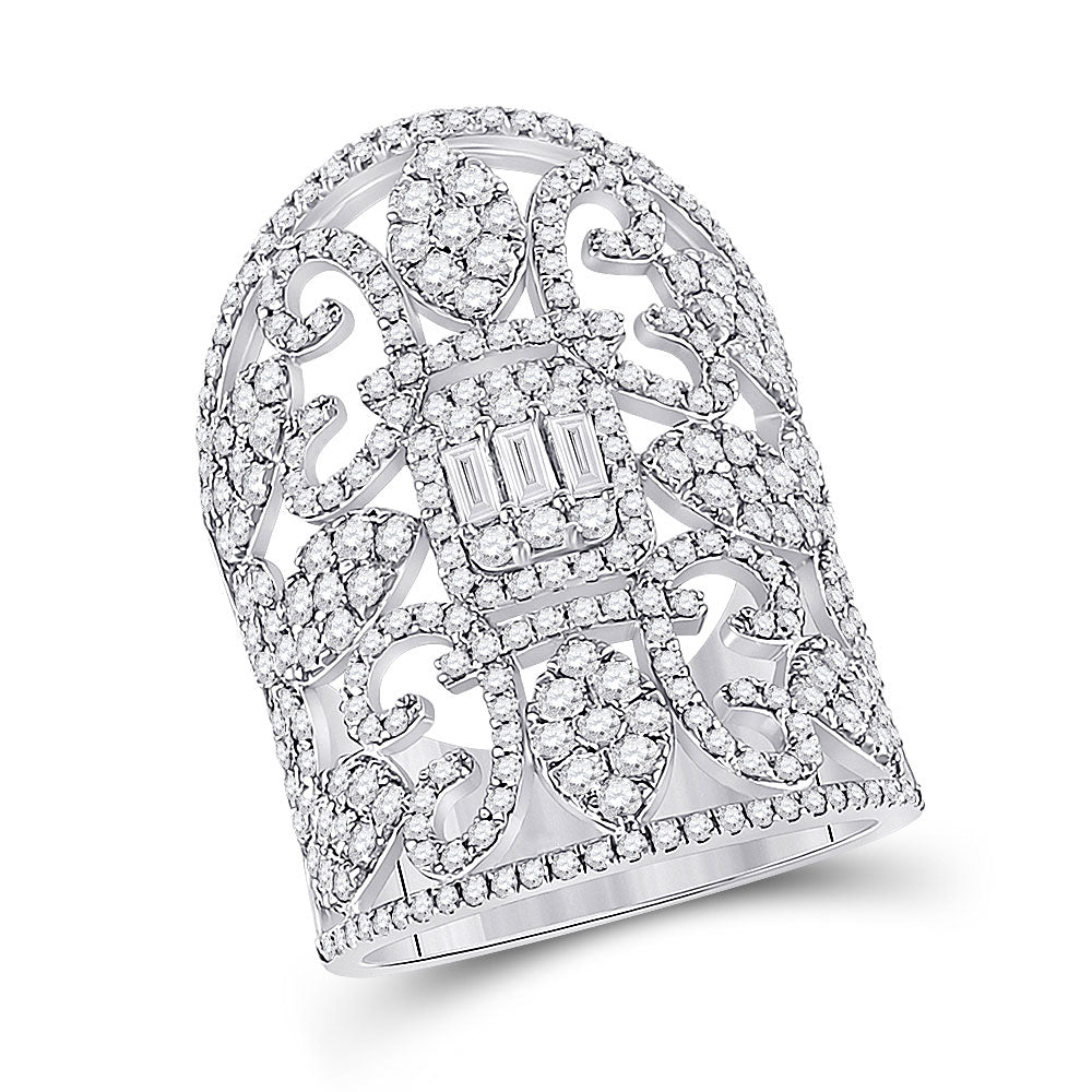14kt White Gold Womens Baguette Diamond Fashion Cocktail Ring 2-1/2 Cttw