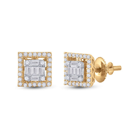 14kt Yellow Gold Womens Baguette Diamond Square Earrings 3/8 Cttw