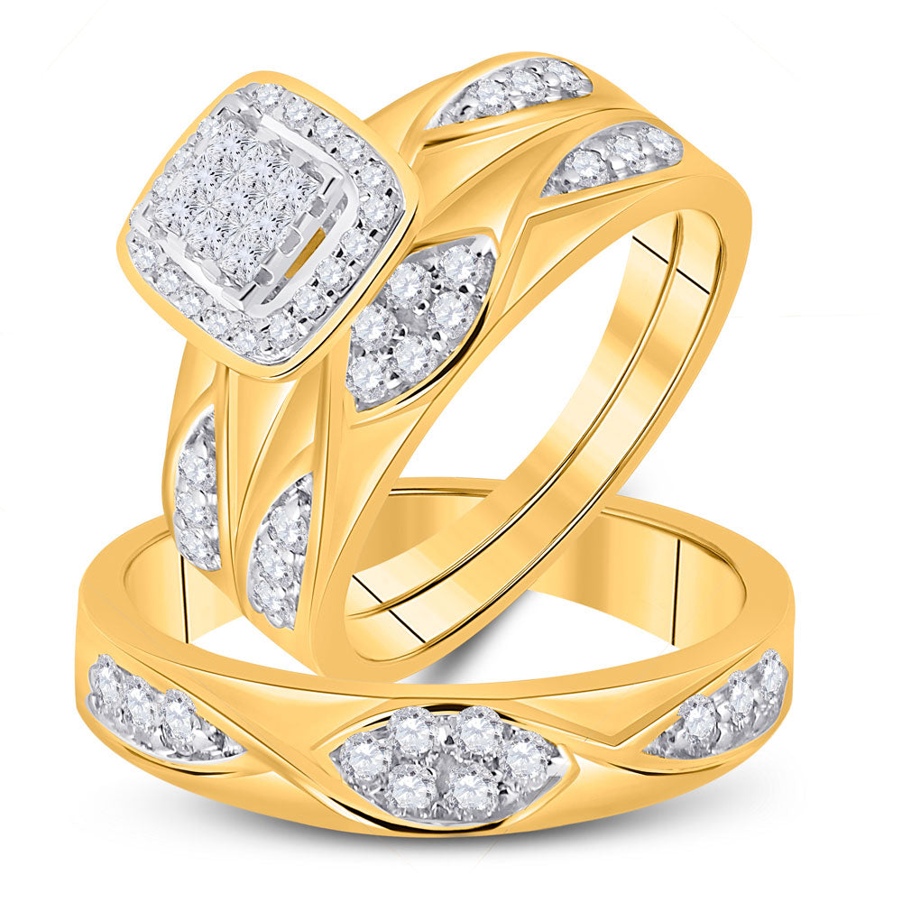 10kt Yellow Gold His Hers Princess Diamond Square Matching Wedding Set 5/8 Cttw