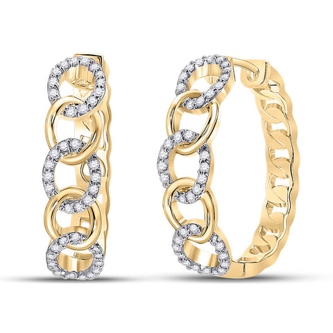 10kt Yellow Gold Womens Round Diamond Cuban Curb Link Hoop Earrings 1/5 Cttw