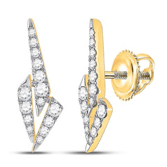 14kt Yellow Gold Womens Round Diamond Fashion Earrings 1/2 Cttw