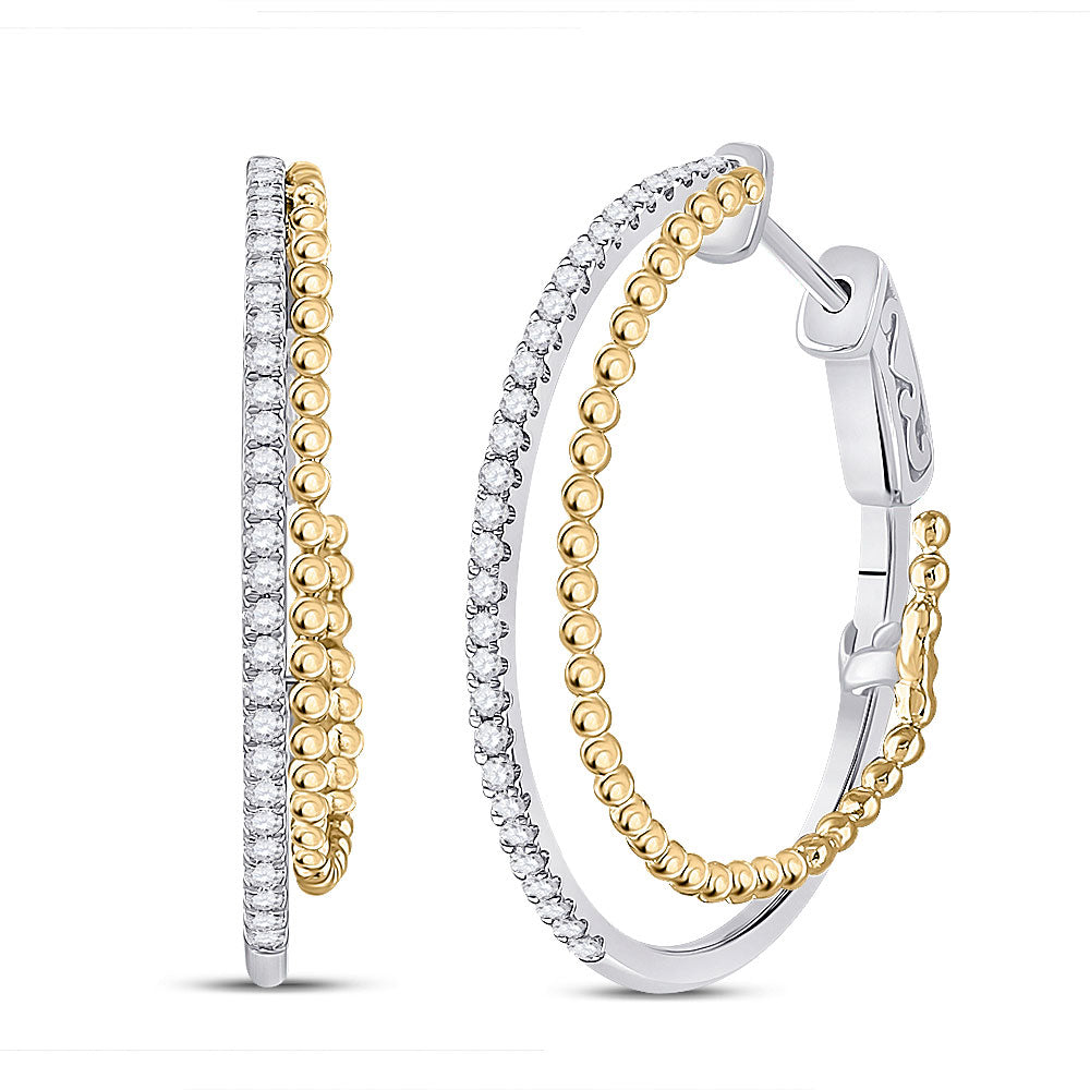 14kt Two-tone Gold Womens Round Diamond Hoop Earrings 1/2 Cttw