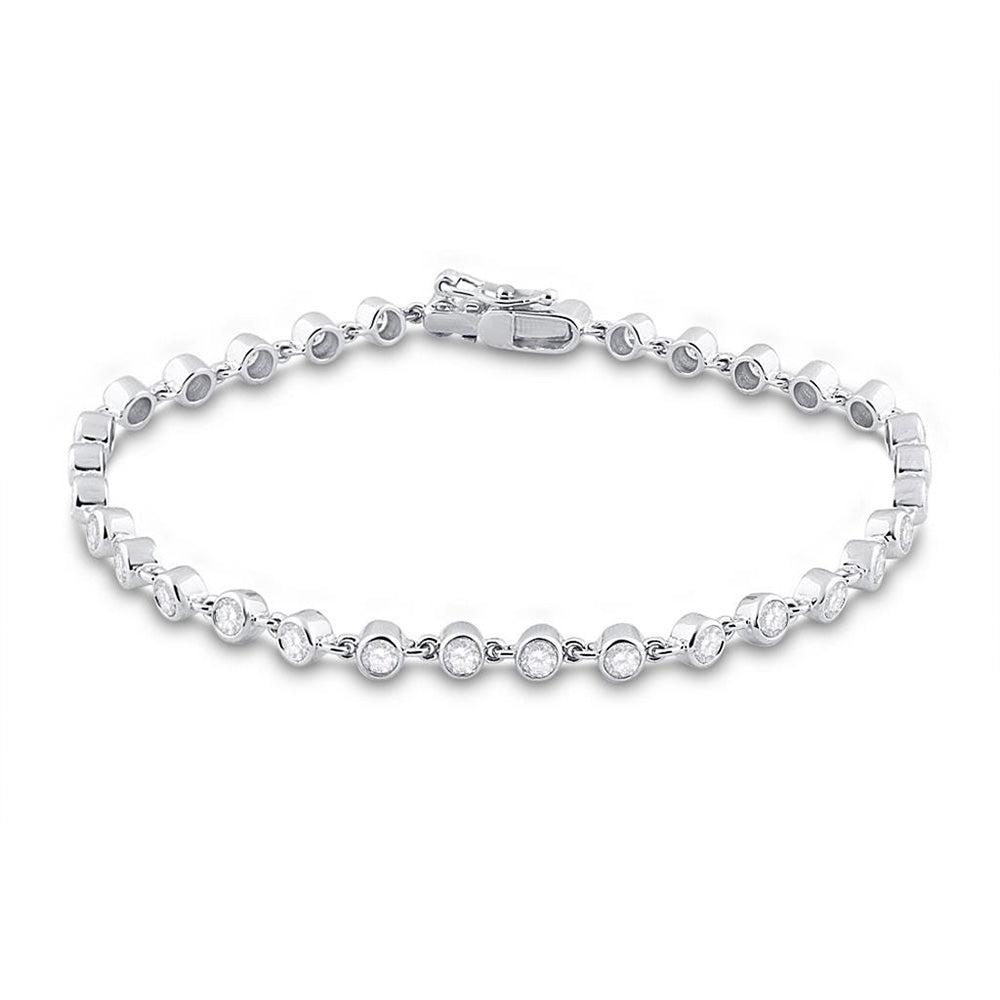 14kt White Gold Womens Round Diamond Tennis Bracelet 1-3/4 Cttw