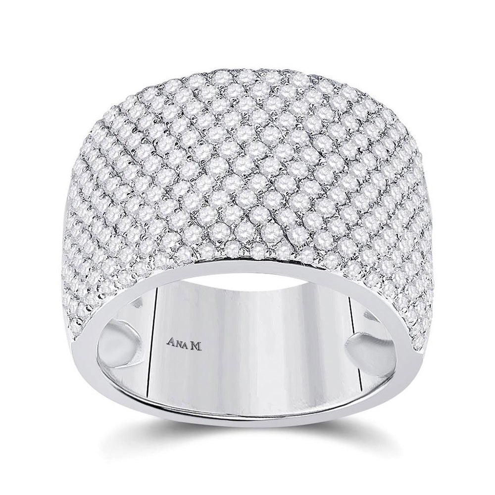 14kt White Gold Womens Round Diamond Pave Band Ring 2-1/4 Cttw