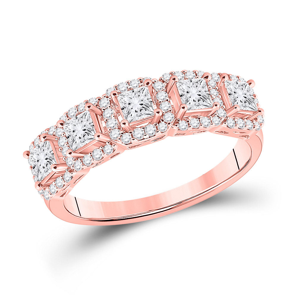 14kt Rose Gold Womens Princess Diamond 5-Stone Anniversary Ring 1 Cttw