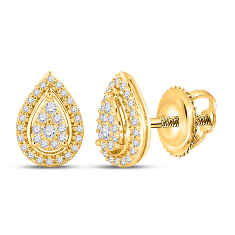 14kt Yellow Gold Womens Round Diamond Teardrop Earrings 1/2 Cttw