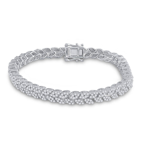 14kt White Gold Womens Round Diamond Fashion Bracelet 3-5/8 Cttw