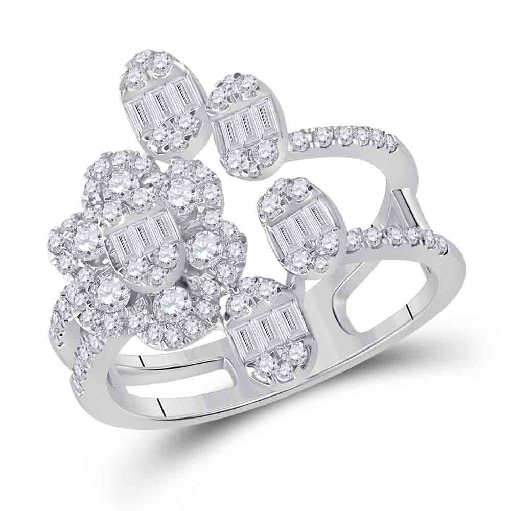 14kt White Gold Womens Baguette Diamond Flower Band Ring 1 Cttw