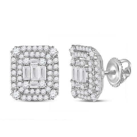 14kt White Gold Womens Baguette Diamond Cluster Earrings 1-1/5 Cttw
