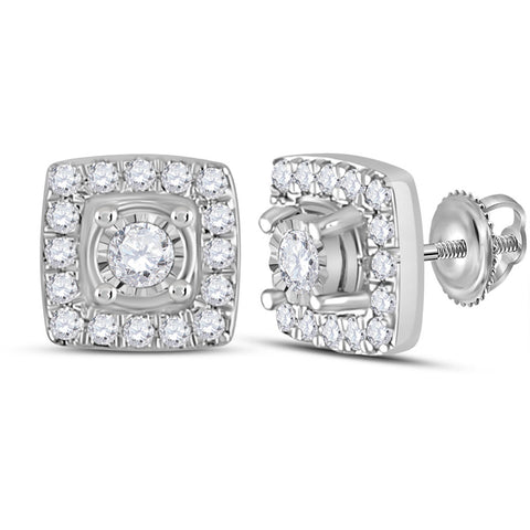 10kt White Gold Womens Round Diamond Square Earrings 1/5 Cttw