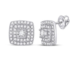 10kt White Gold Womens Round Diamond Square Earrings 1/4 Cttw