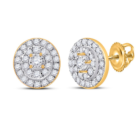 10kt Yellow Gold Womens Round Diamond Oval Earrings 1/3 Cttw