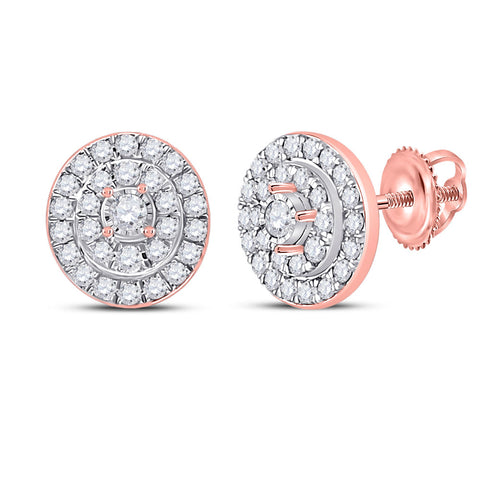 10kt Rose Gold Womens Round Diamond Oval Earrings 1/3 Cttw