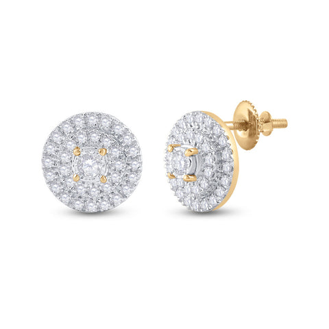 10kt Yellow Gold Womens Round Diamond Circle Earrings 1/4 Cttw