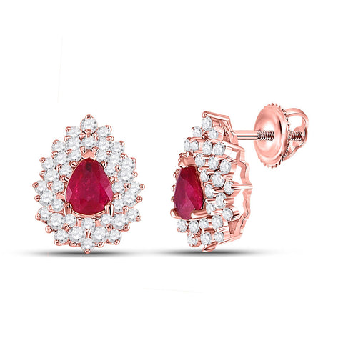 14kt Rose Gold Womens Pear Ruby Diamond Fashion Earrings 1-1/2 Cttw