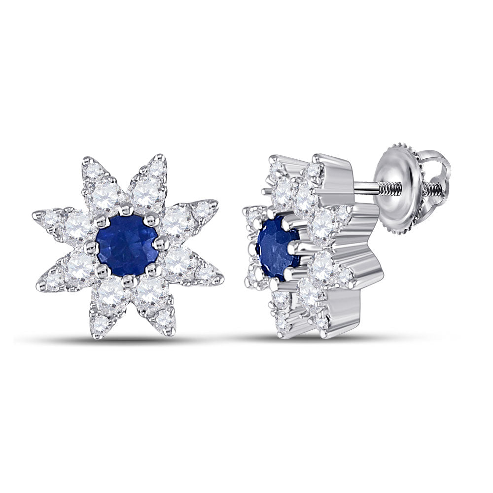 14kt White Gold Womens Round Blue Sapphire Diamond Halo Earrings 1/2 Cttw