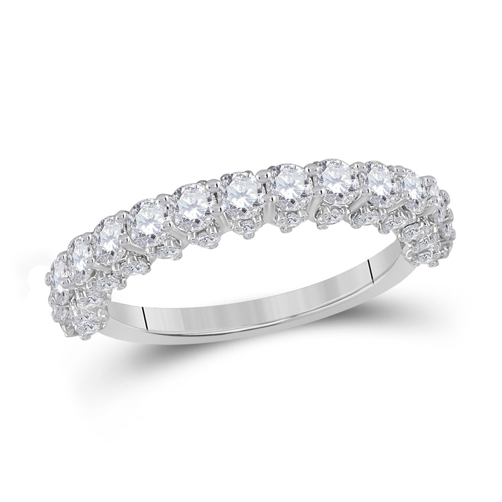 14kt White Gold Womens Round Diamond Single Row Band Ring 1-5/8 Cttw