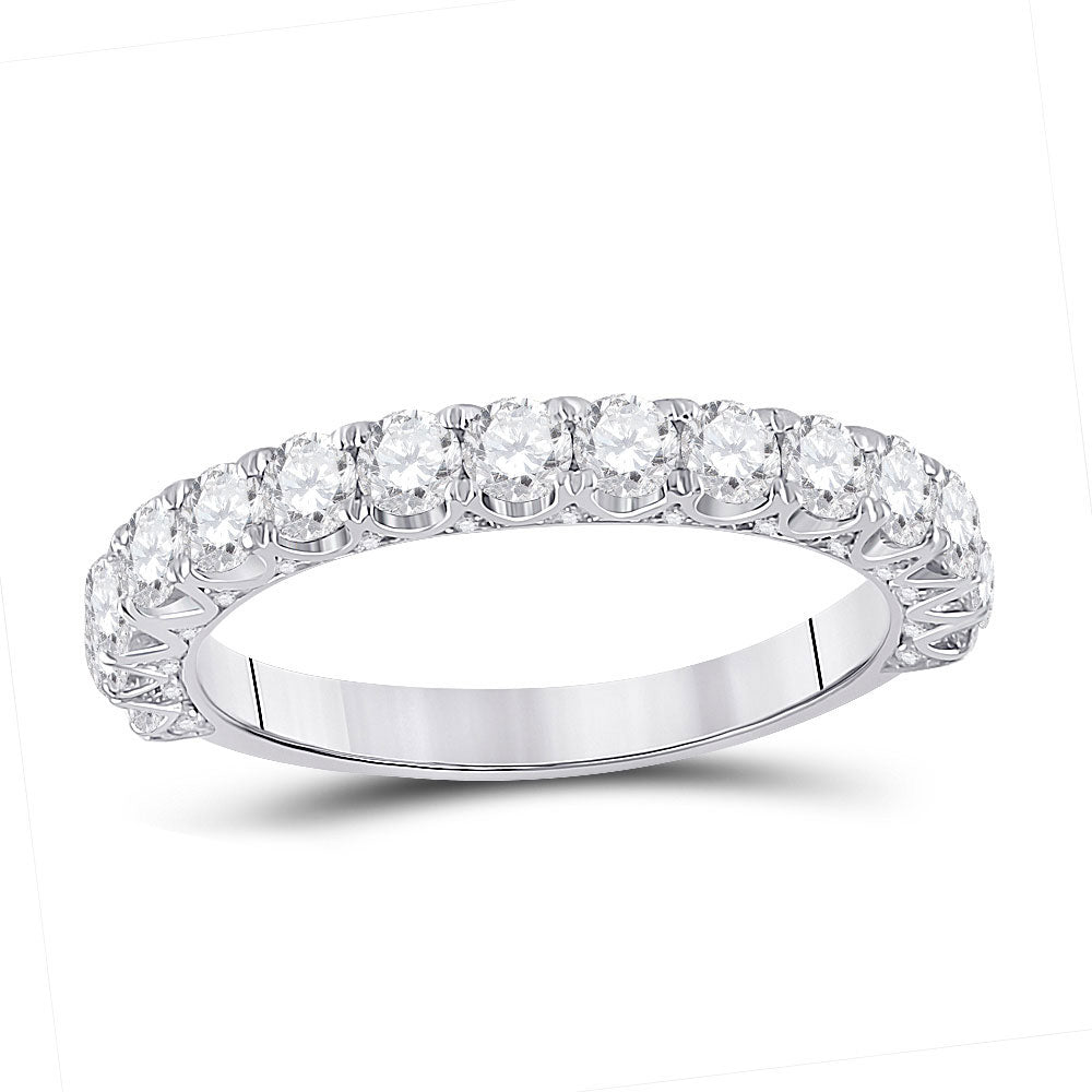 14kt White Gold Womens Round Diamond Single Row Band Ring 1-1/2 Cttw