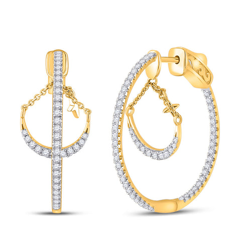 14kt Yellow Gold Womens Round Diamond Dangle Hoop Earrings 1 Cttw
