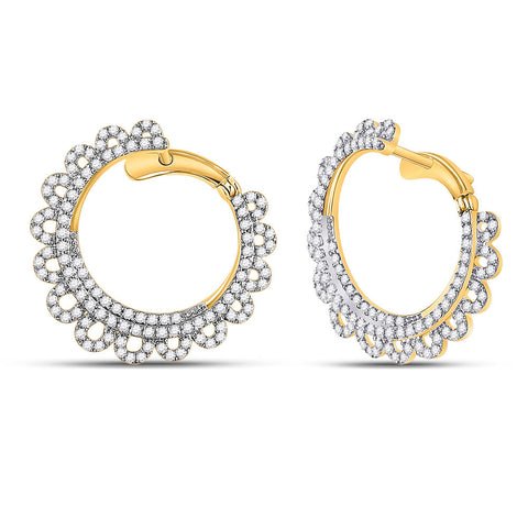14kt Yellow Gold Womens Round Diamond Hoop Earrings 1-1/2 Cttw